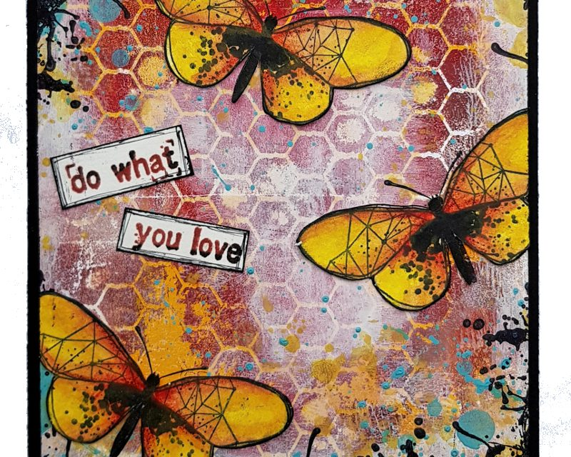 Mixed Media Grungy Butterfly Card