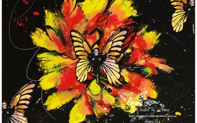 Acrylic Pour Canvas with Rubber Dance Stamps by Annie Sharland