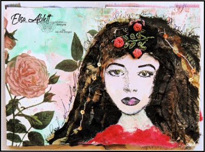 Art Journal Page using Rubber Dance Stamps by Elisa Ablett