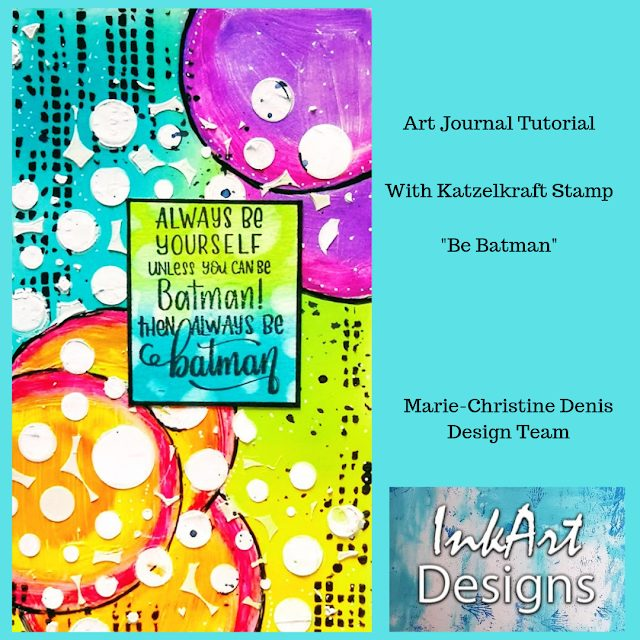 Art Journal Page with Katzelkraft Stamp by Marie-Christine Denis