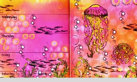 Art Journal Page With Visible Image Stamps by Marie-Christine Denis