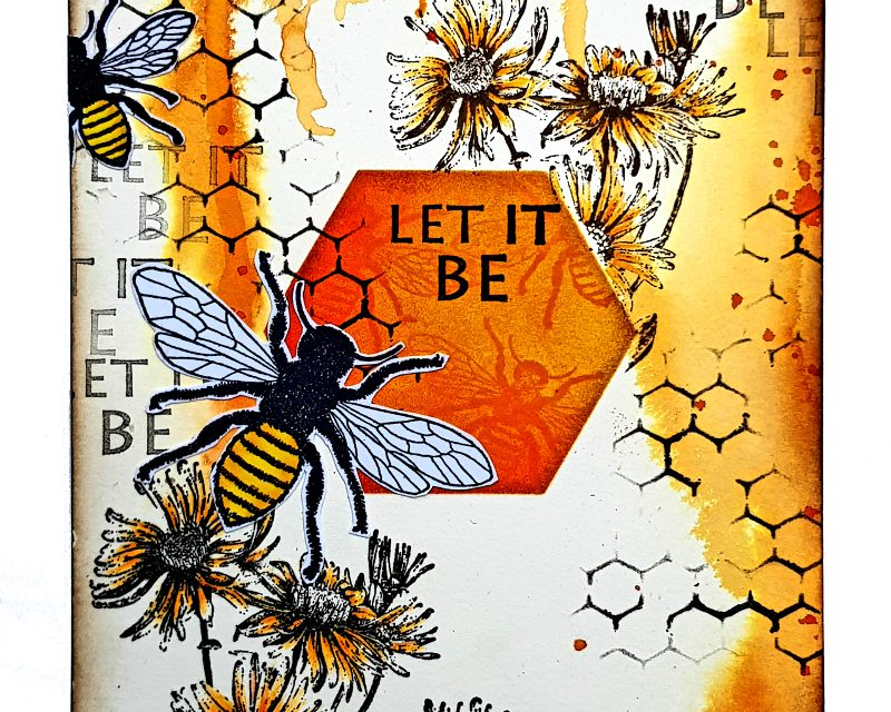 Art Journal Page with Rubber Dance Bees