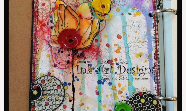 Art Journal Page with Visible Image Stamps by Sue Davies