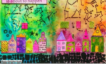 Art Journal Page Using Rubber Dance Stamps by Marie-Christine Denis